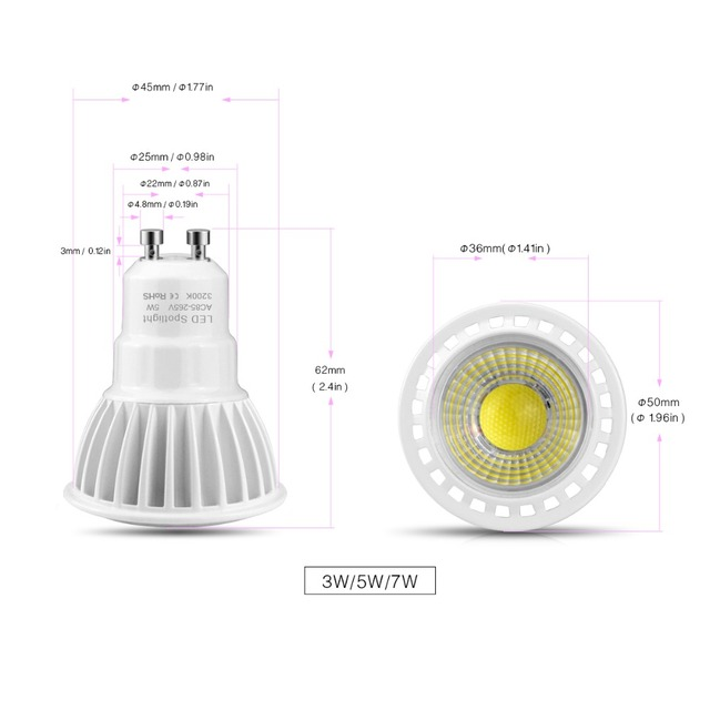 6PCS / Pack Spot Light GU10 LED Bulb Cob 3W 5W 7W AC 85V-265V Spotlight Aluminum Housing LED Lamp CRI>80 Home lighting Lamparas LED Spotlights