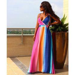 Kobieta Sukienka 2018 wiosna lato formalne Sukienka w stylu Vintage afryki sukienki dla kobiet Plus rozmiar sexy rainbow Tute esthetic Donna Sukienka 1