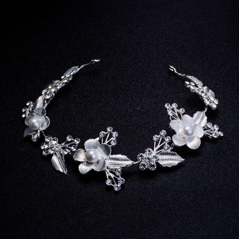 Wedding Bridal Hair Accessories Royal Tiara Silver Plated and Gold Color Metal Leaf Flower Crystal Hair Vine Tiara (1)