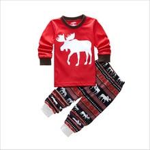 2016 new boys and girls childrens suits casual Christmas fawn 2 piece sleepwear long sleeve pajamas cartoon 100% cotton