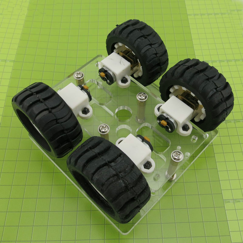 JMT Mini DIY N20 Smart Car Chassis Transparency Acrylic Four-wheel-Drive Two Layer RC Robot DIY Kit N20 Motor Wheels 90*90mm ...