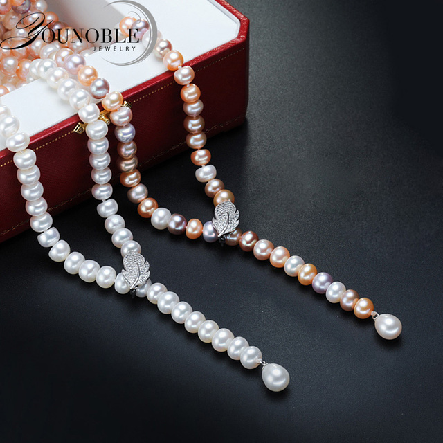 Freshwater tassel long pearl necklace women,real natural bridal pearl necklace body multi layer color for girls best friend