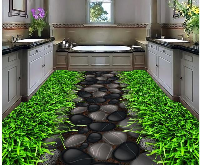3d pavimenti in piccolo percorso erba 3d piano sfondo carta da parati per il bagno impermeabile - Carta da parati impermeabile per bagno ...