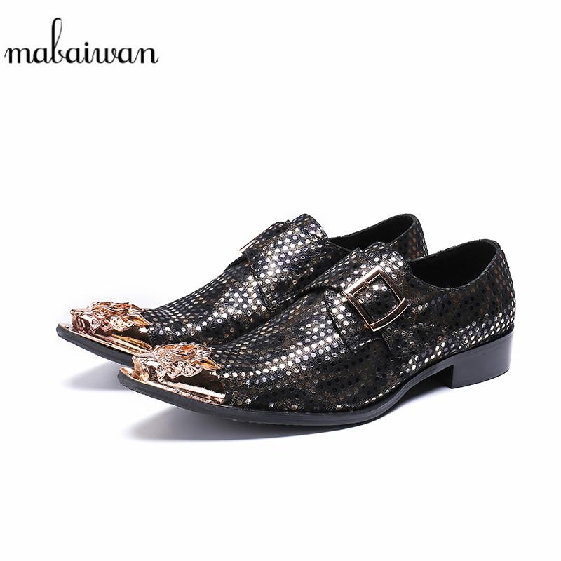 Mabaiwan Casual Men Shoes Handmade Leather Loafers Gold Metal Toe Slipper Buckle Party Dress Shoes Men Breathable Flats 38-46 2017 new spring imported leather men s shoes white eather shoes breathable sneaker fashion men casual shoes