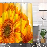 100% Polyester Custom Popular sunflower#2 Fabric Modern Shower Curtain bathroom Waterproof New arrival H0223-5