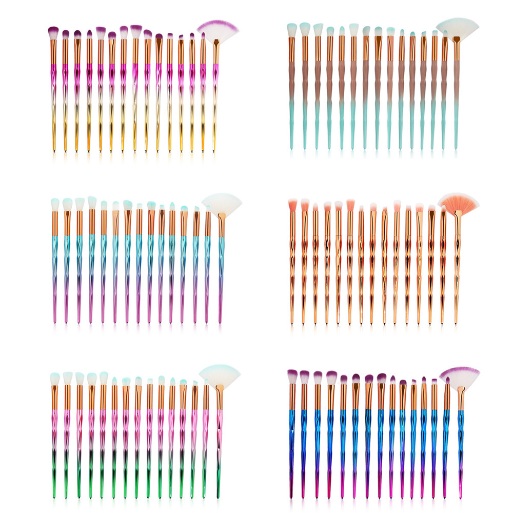 New 15PCS Eye Makeup Brushes Set Eyeshadow Eyebrow Contour Blush Lip Face Blender Diamond Profession Cosmetic Beauty Tools Kit