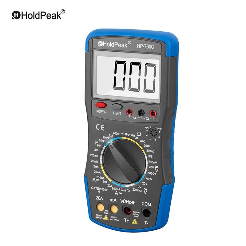HoldPeak HP-760C 200mV~1000V Voltage Ampere Manual Range Digital Multimeter Temperature Instrument Resistance Tester Handheld mini multimeter holdpeak hp 36c ad dc manual range digital multimeter meter portable digital multimeter