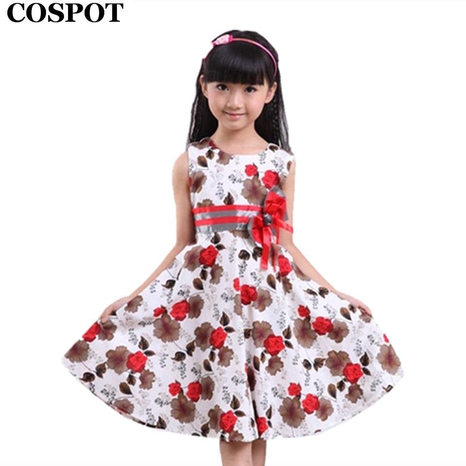 Cospot 2018 New Baby Girls Dress Summer Children Clothing Baby Dress Floral Princess Casual