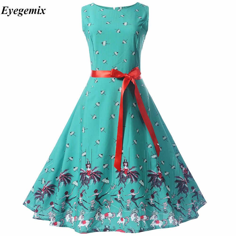 7fb1c17954b4 Women Dresses 2018 New Retro Hepburn 50s 60s High Waist Knee Length Dresses  A Variety of