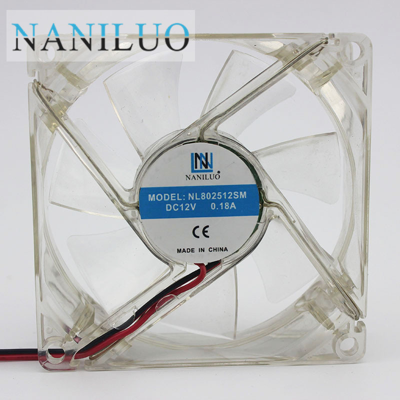 NANILUO <font><b>pc</b></font> computer <font><b>fan</b></font> <font><b>80mm</b></font> with 4ea led 8025 8cm silent DC <font><b>12V</b></font> LED luminous chassis molex 4D plug axial <font><b>fan</b></font> image
