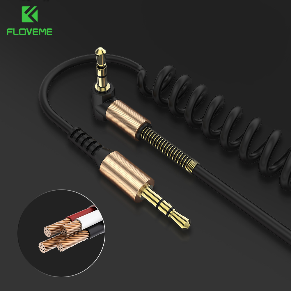 FLOVEME Audio Cable 3.5mm Jack Male to Male Aux Cable Stereo 2M Spring Line For Phone Computer Car Home Theater DVD MP4 Aux Cord wi fi роутер tp link archer c7 ac1750