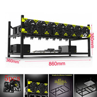 New 8 GPU Mining Rig Aluminum Stackable Case Frame Open Frame Mining Case for ETH/ZEC/Bitcoin With/No Fan QJY99