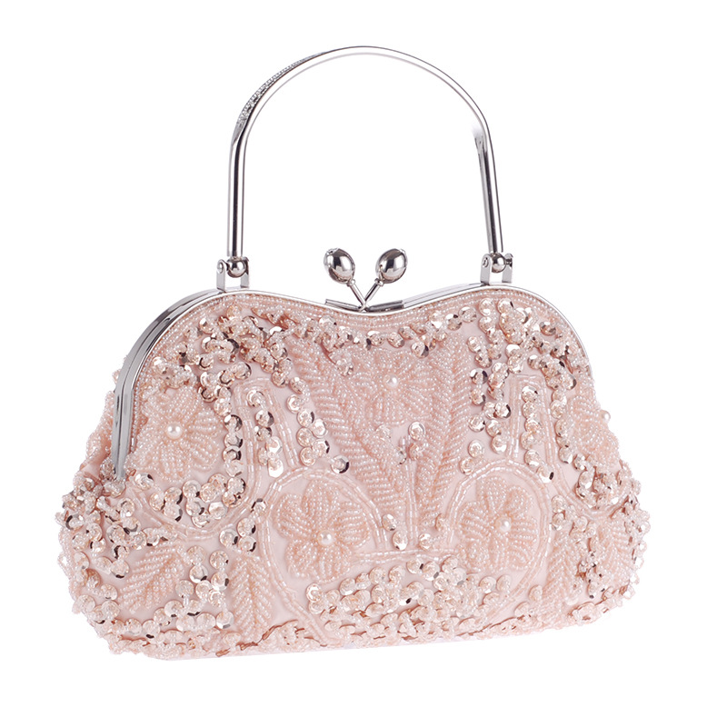 Bamboo Charm Folk custom Vintage Evening Handbag For Women Beading Flower Clutch Casual Lady Bag Crossbody Shoulder Metal Chain in Shoulder Bags from Luggage Bags