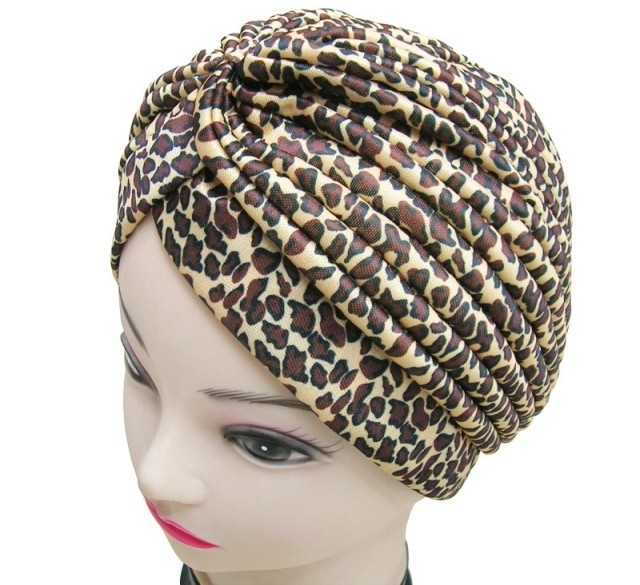 Free Shipping 2019 New Fashion Women Indian Stretchable Brown Grey Leopard Animal Printed Turban Hat
