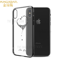 Original KINGXBAR For IPhone X Case Luxury Crystals From Swarovski PC Hard Elegant Fashion Coque Cover