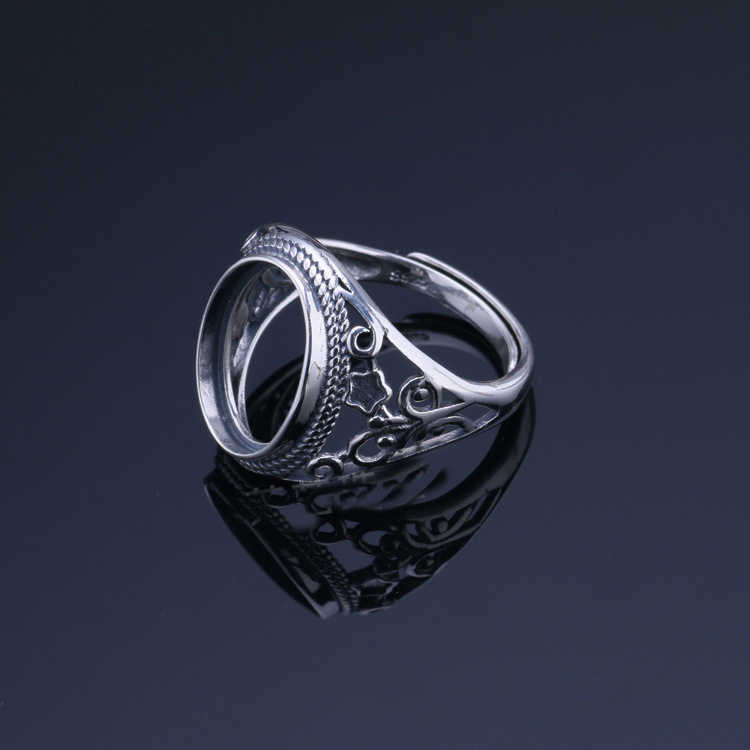 10.8*14.3 milímetros 925 STERLING SILVER Semi Montar Bases Blanks base de Almofada em branco Ajuste do anel DO VINTAGE anéis de presente da jóia diy A2981