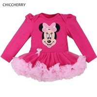 Hot Pink Minnie Birthday Tutu Outfits Cotton Infant Lace Tutus Toddler Romper Dress Fantasia Para Bebe