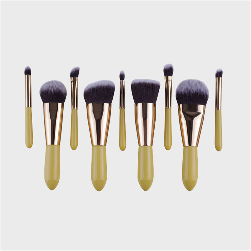 Professional Makeup Brushes 9pcs Cosmetic Brushes Set Kabuki Brush Face Make up Tool Powder Brush Yellow Lemon
