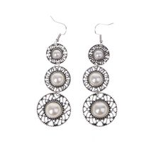 цена на Boho Faux Pearl Chandelier Retro Alloy Circle Ear Earrings Dangle Hook