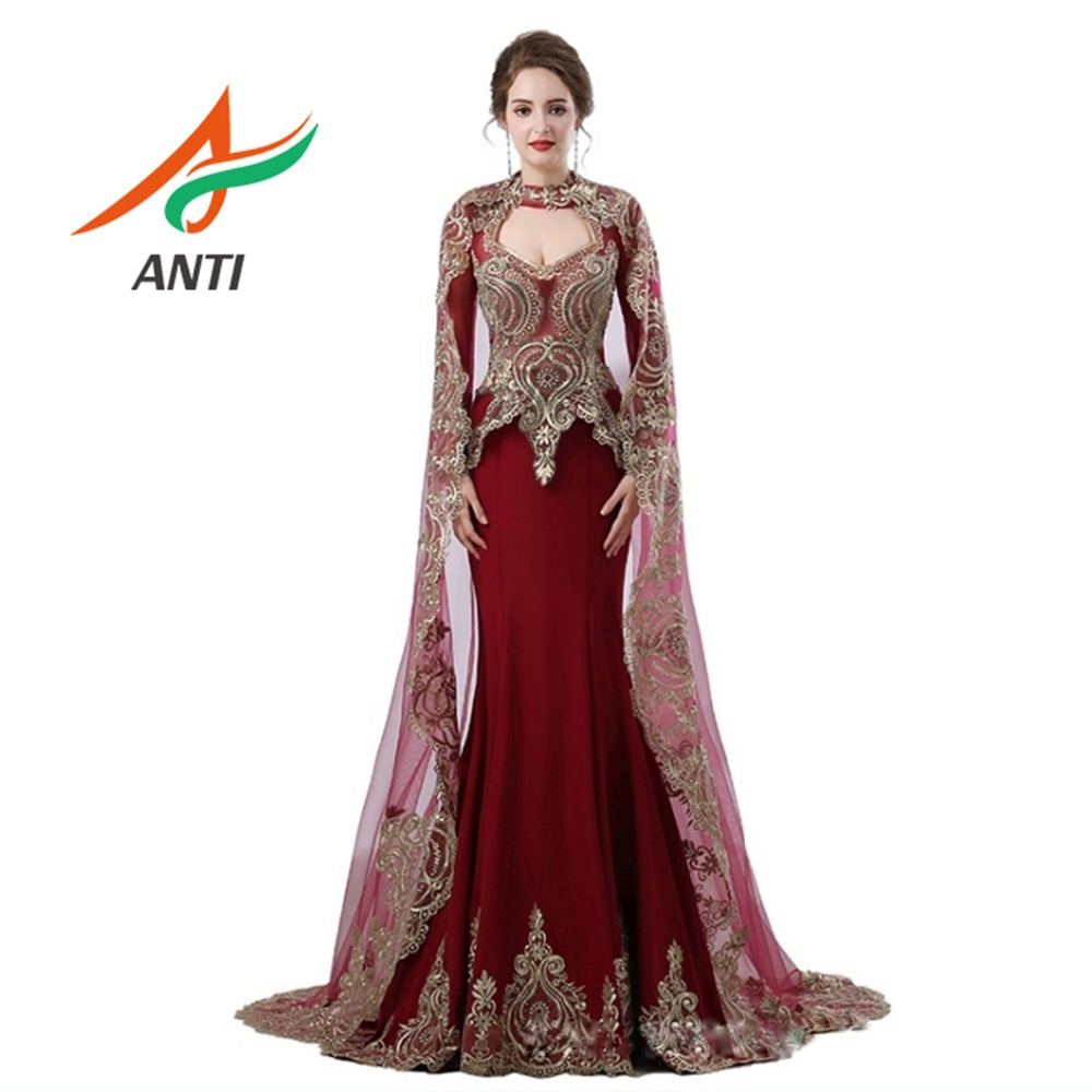 ANTI Saudi Arabic Burgundy Mermaid   Evening     Dress   Long Detachable shawl Robe De Soiree 2019 Dubai Turkish Long Sleeve For Woman