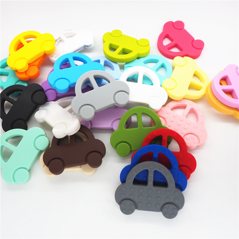 Chenkai 2pcs Silicone Car Teether DIY Baby Pacifier Dummy Chewing Sensory Pendant Jewelry Making Montessori Toy Accessories