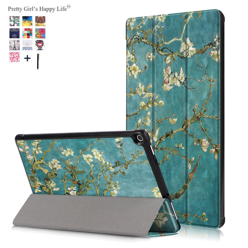 Capa Fundas For Amazon Kindle Fire HD 10 2017 Tablet Case For Amazon HD 10 2017 Smart Print Flip Leather Stand Cover +Stylus for amazon kindle fire hd 8 2017 tablet cover 8 heavy duty silicon fundas shockproof armor case new fire hd8 protective stand