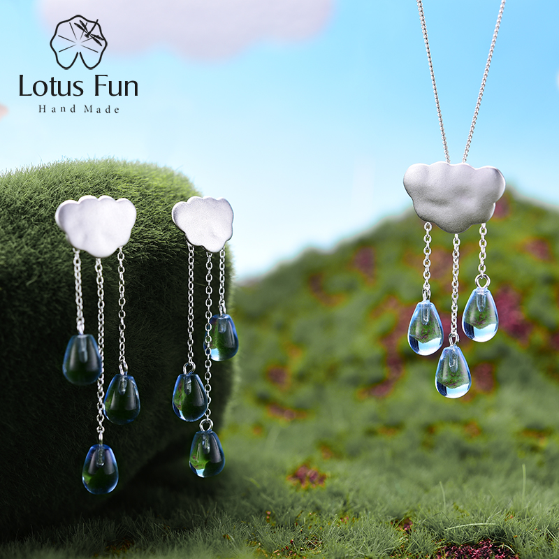 Lotus Fun Real 925 Sterling Silver Handmade Fine Jewelry Ethnic Cloud Long Tassel Jewelry Set with
