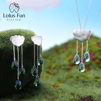 Lotus Fun Real 925 Sterling Silver Handmade Fine Jewelry Ethnic Cloud Long Tassel Jewelry Set with Drop Earring Pendant Necklace