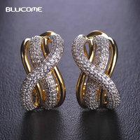 Blucome cheio elegante cubic zircon brinco para mulheres ear cuff de casamento cor de ouro branco brincos de noiva para as noivas oorbellen