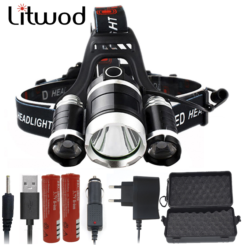 Litwod Z202303 Led Headlamp Headlight 3pcs XML T6 chip Led Head Flashlight Torch Lamp 90 Degree night lights Power 18650 battery