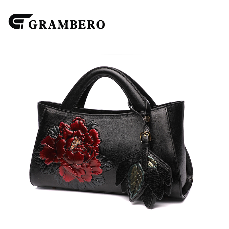 2018 New Style Fashion Women Vintage Handbag Genuine Leather Flower Pattern Luxurious Top-handle Bags Crossbody Shoulder Bag 2017 120cm diy metal purse chain strap handle bag accessories shoulder crossbody bag handbag replacement fashion long chains new