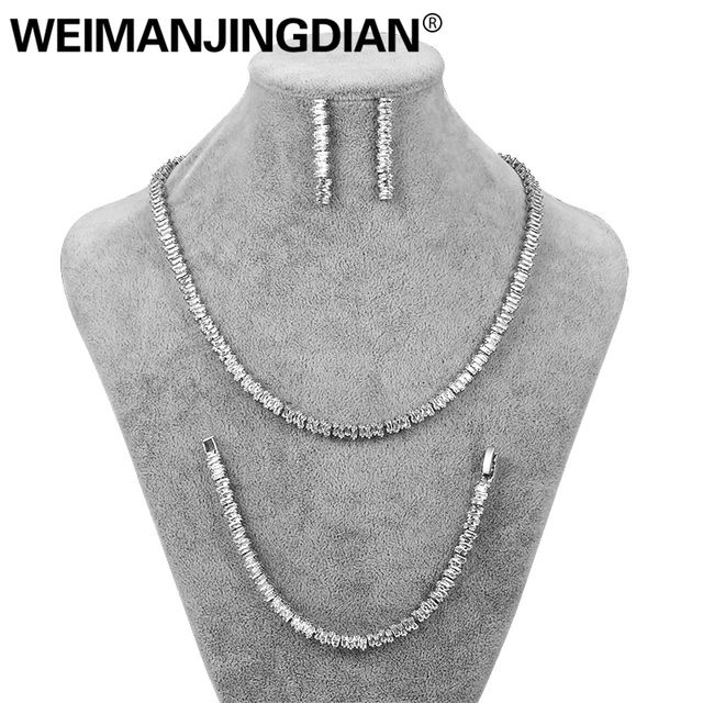 WEIMANJINGDIAN New Arrival Set of 3 Princess Cut Cubic Zirconia Tennis Necklace Earrings and Bracelet Bridal Wedding Jewelry Set