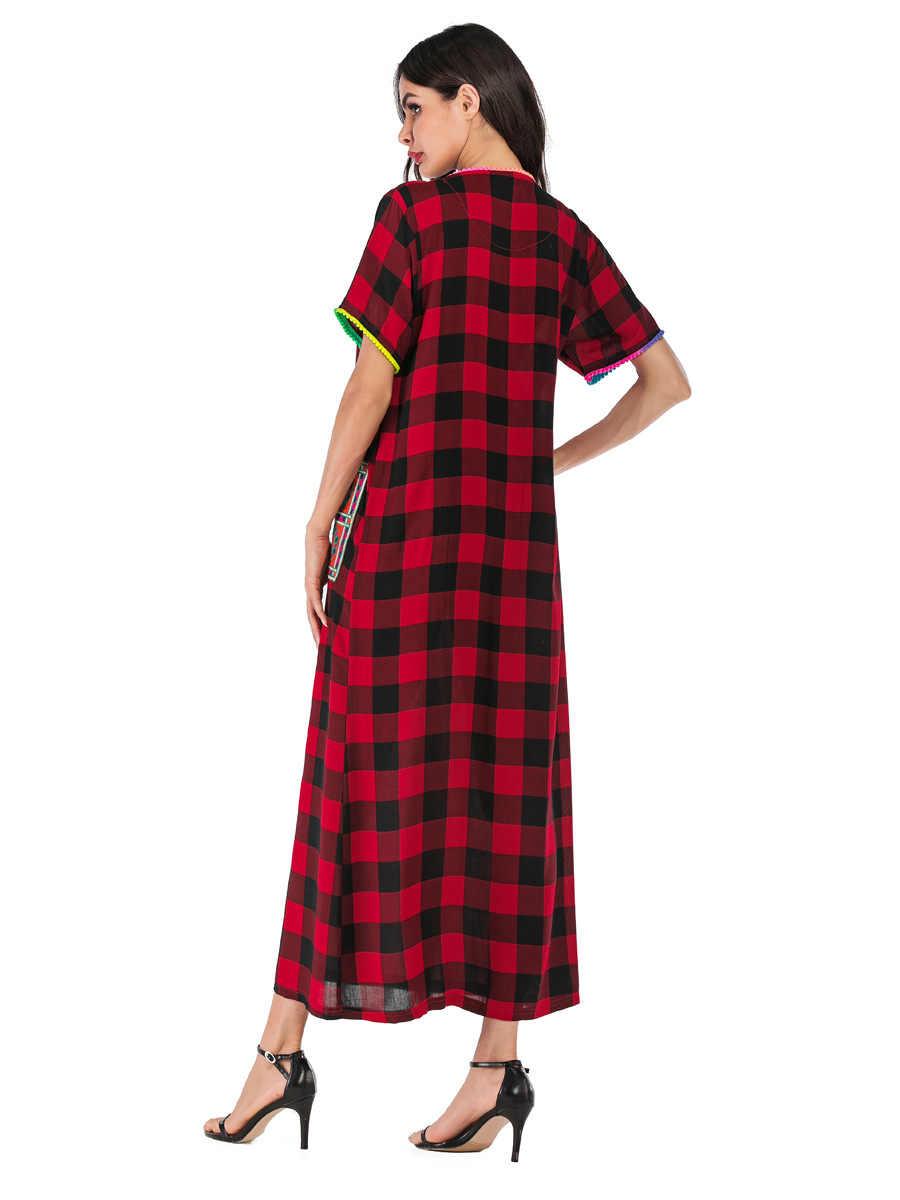 2019 летнее женское клетчатое мусульманское платье карман с бахромой дизайн abaya модный халат турецкий Дубай длинный Восточный халат марокканское платье VKDR1731