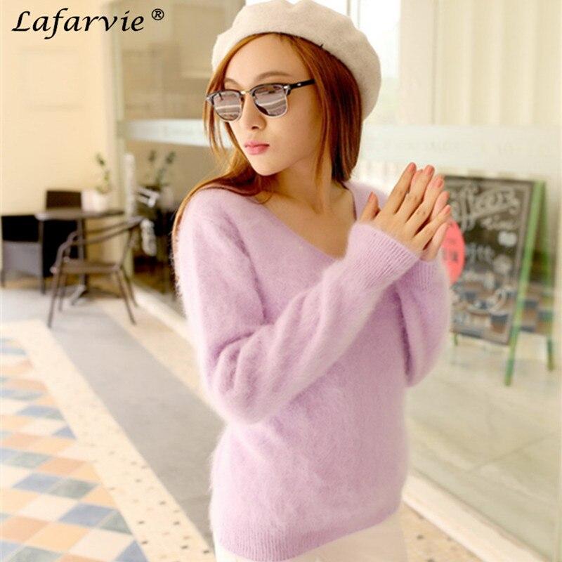 Lafarvie SWETER 100% норки кашемировый свитер Для женщин v-образным вырезом свитера и пуловеры чистый норки кашемира трикотажный пуловер дамы свитер