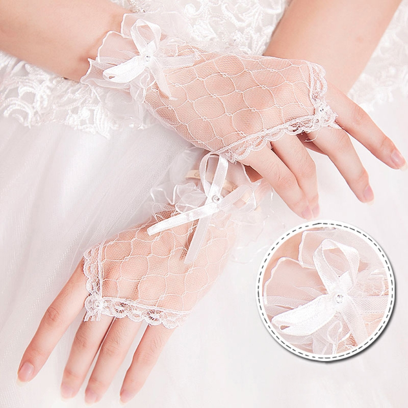 Bridal Lace Net Yarn Bowknot Gloves Without Fingers Wedding Accessories