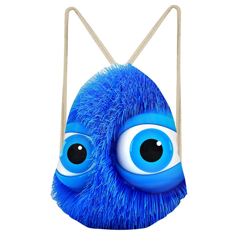 THINK Cartoon Big Eye Monster Cute Patterns Kid Polyester Beam Pocket Drawstring Bag Unisex Lightweight Bags Package Fashion