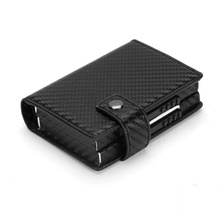 Top Quality Men Double Aluminum Leather Travel Card Wallet Rfid Credit Holder PU Unisex Security Metal Smart Purse