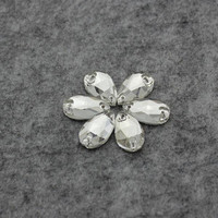Clear Color Teardrop Shape 7x12mm-17x28mm Two Holes Glass Sew On Stone Clothes Shoes Decoration