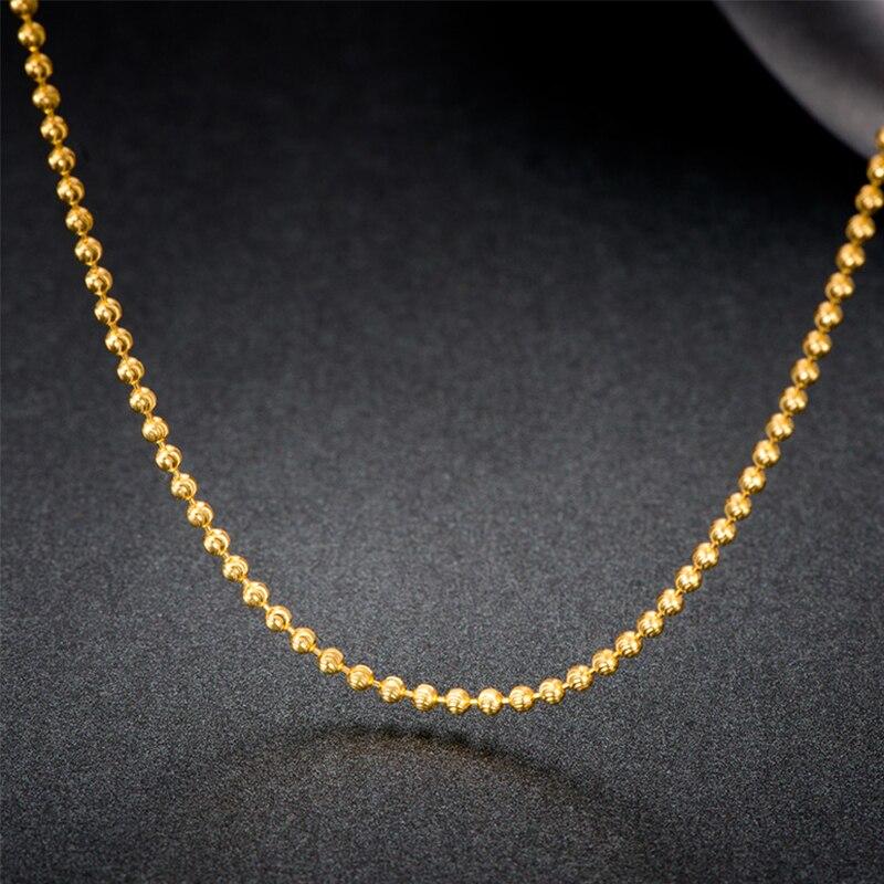 18 k pur or perles collier Rose blanc jaune chaîne réel Au750 solide Shine nouveau chaud à la mode fête balle femmes fille Miss cadeau bon