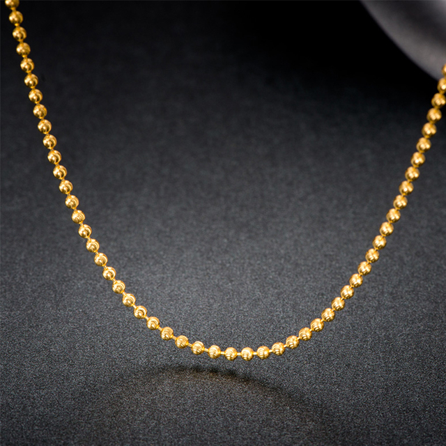 18k Pure Gold Beads Necklace Rose White Yellow Chain Real