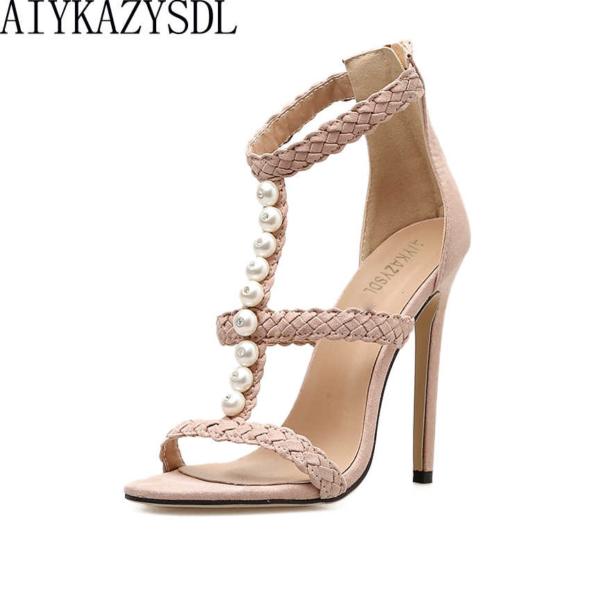 AIYKAZYSDL Elegant Ladies Shoes String Bead Pearl Bohemia Sandals Strappy Ankle Strap Weave High Heel Pumps Stiletto Dress Shoes