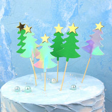 5pcs/lot Laser christmas tree Party Cupcake Topper Happy Birthday Baby Shower Decor Kids Cake Supplies