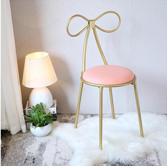 Качественное металлическое кресло, модный скандинавский барный стул для отдыха, современные обеденные вечерние стулья с бантом, форма спинки и высокая поролоновая губка - Цвет: H45 pink
