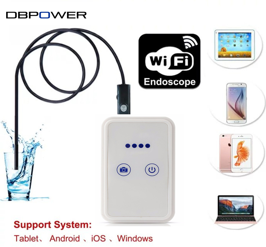 imágenes para Caja de Inspección de la Serpiente del Endoscopio Del USB 720 P Con Wifi DBPOWER cámara 6LED 9mm Lente 2.0MP 1 M/2 M/5 M/10 M Endoscopio Wifi para Android IOS