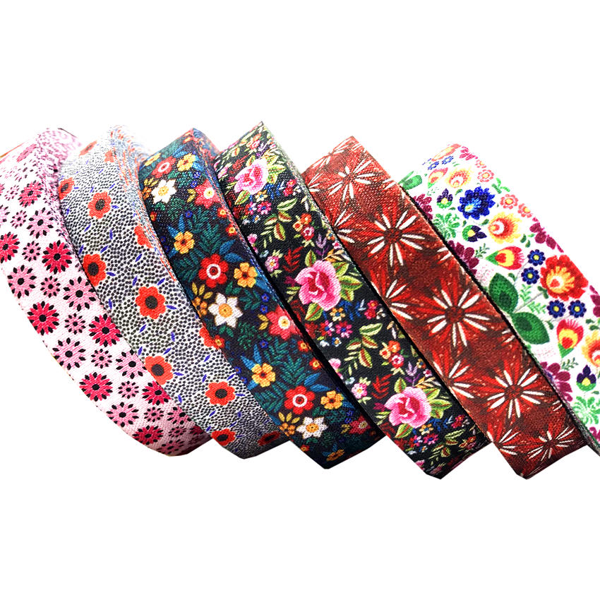 5Yards 16mm Cute Flowers Fold Over Elastic Bands Baby Headband Girls Hair Ties Hair Accessories Craft Supply