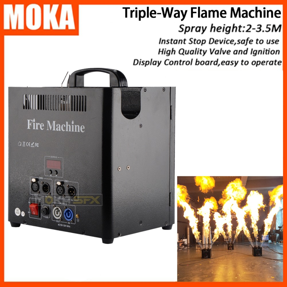 3 Head DMX Spray Fire Machine Flame Projectors Stage Flame Effects  LCD Display DMX 512 Control For Stage Lighting Show Effect