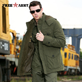 Brand Quality Hooded Jacket Men Winter Thicken Coat Hat Detachable Solid Cotton Jacket Men's Parkas Outwear Plus Size Ms-001