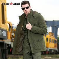 Brand Quality Hooded Jacket Men Winter Thicken Coat Hat Detachable Solid Cotton Jacket Men's Parkas Outwear Plus Size Ms 001
