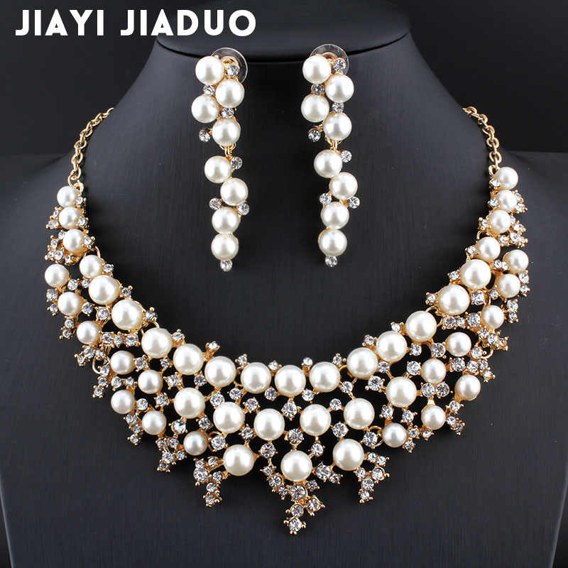 jiayijiaduo Dubai stylish wedding jewelry set Gold-color imitation pearl necklace earrings for elegant women's dress Jewelry Set