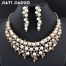 jiayijiaduo Dubai stylish wedding jewelry set Gold-color imitation pearl necklace earrings for elegant women's dress Jewelry Set(China)
